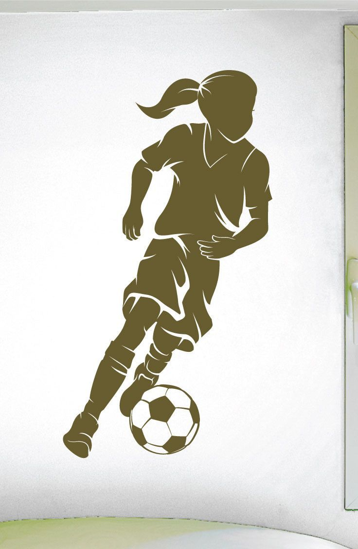 Girls Soccer Wall Decal - 0292 - Soccer Theme Decal - Sports Decal - Dribbling - Ladies Soccer - Futbol