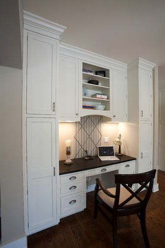 kitchen cabinets desk workspace home office built in desk design pictures remodel decor 6015