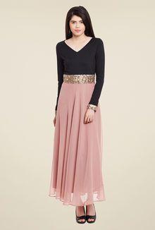 Meee Pink & Black Solid Dress