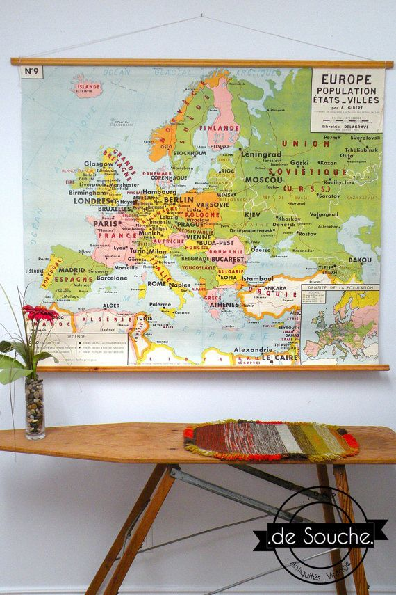 Genuine And Vintage Pull Down Map Europe French By DeSouche De - French map of europe