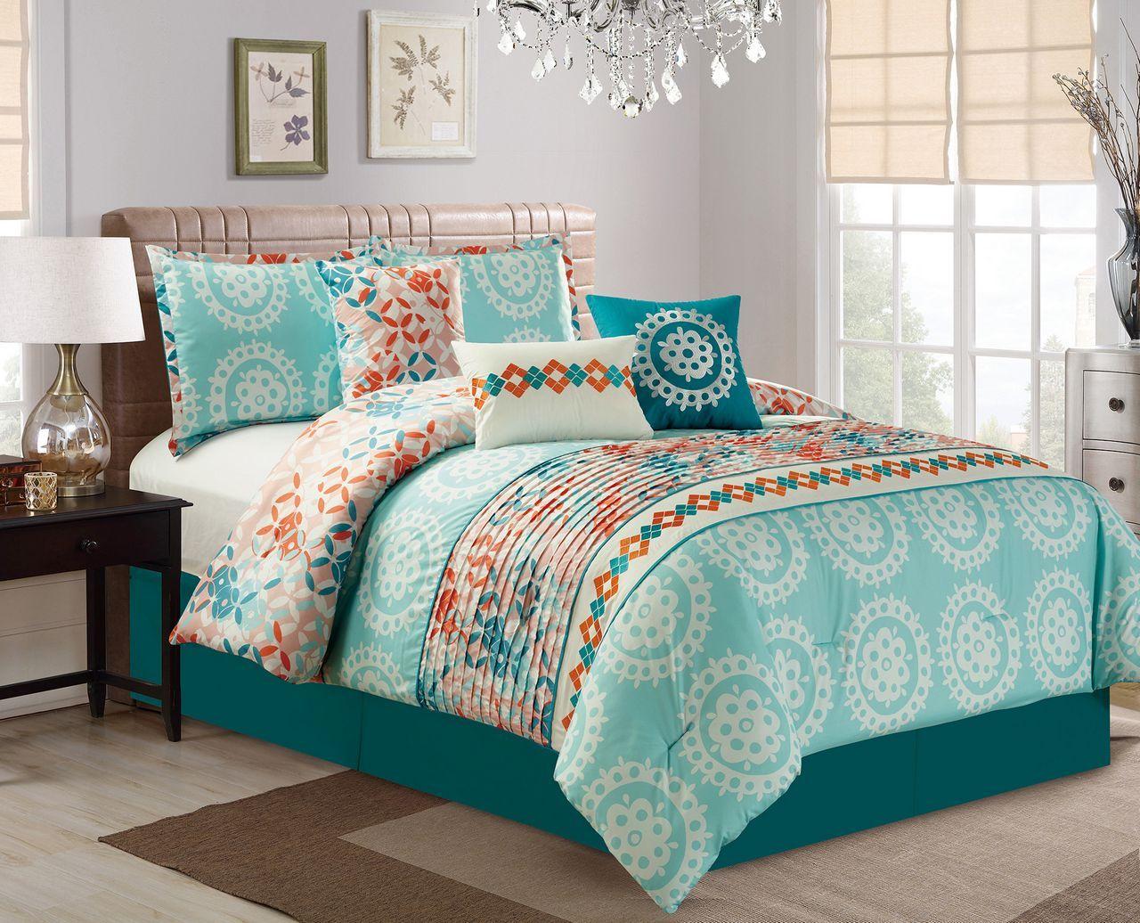 7 Piece Medallion Teal Coral Comforter Set Comforter Sets Teal