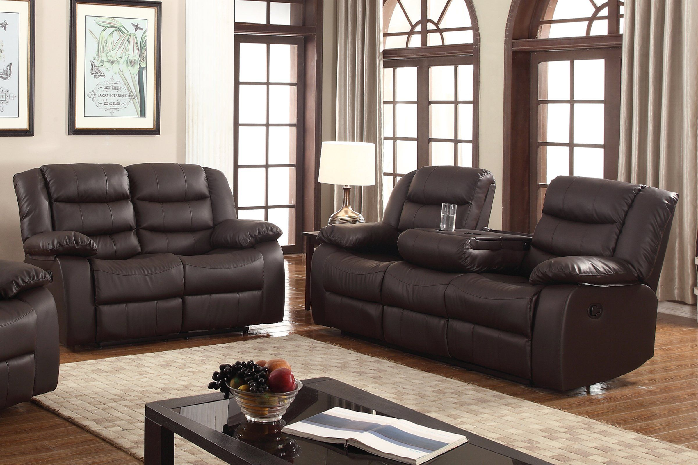 CHARLES Modern Sectional Living Room Couch Set BROWN Faux Leather Reclining Sofa