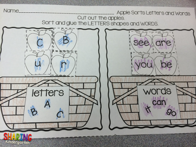 little ones love to sort letter and words