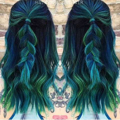 Hairstylesbeauty Dark Green Hair Blue Green Hair Hair Color Blue