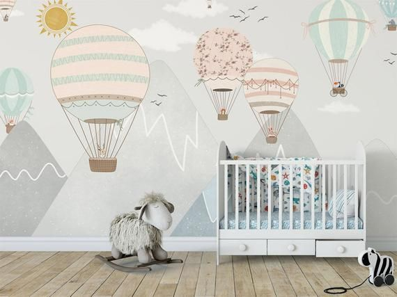 Gray Background Safari Balloon Wallpaper Removable Colorful