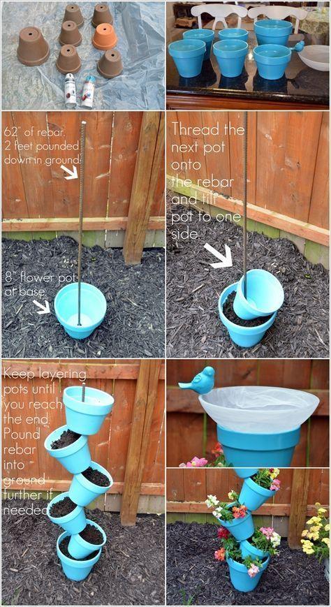 Baue dieses wunderschöne Topsy-Turvy-Pflanzgefäß und Vogelbad, um den Garten zu dekorieren #gartenideen