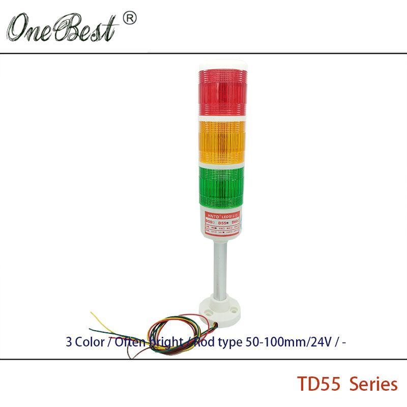 Free Shipping Hntd 24v Led Signal Light Rod Type Often Bright 3 Color Td55 Cnc Machine Tool Warning Lamp 12v L Indicator Lights Cnc Machine Tools Led Indicator