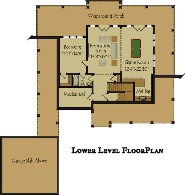 3 bedroom open floor plan with wraparound porch and basement - 3 Bedroom House Plans With Rec Room