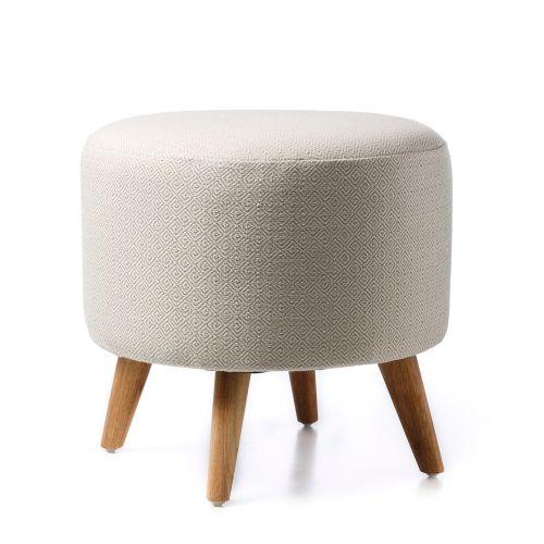 Home Republic White Round Diamond Ottoman - Furniture Ottomans - Adairs