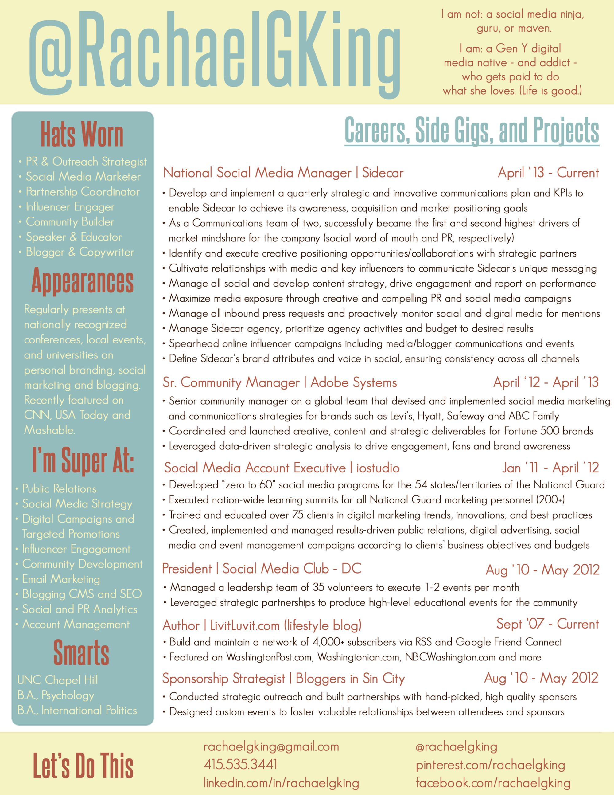Great Example Of Pinterest Resume Rachael G King Updated March 2014