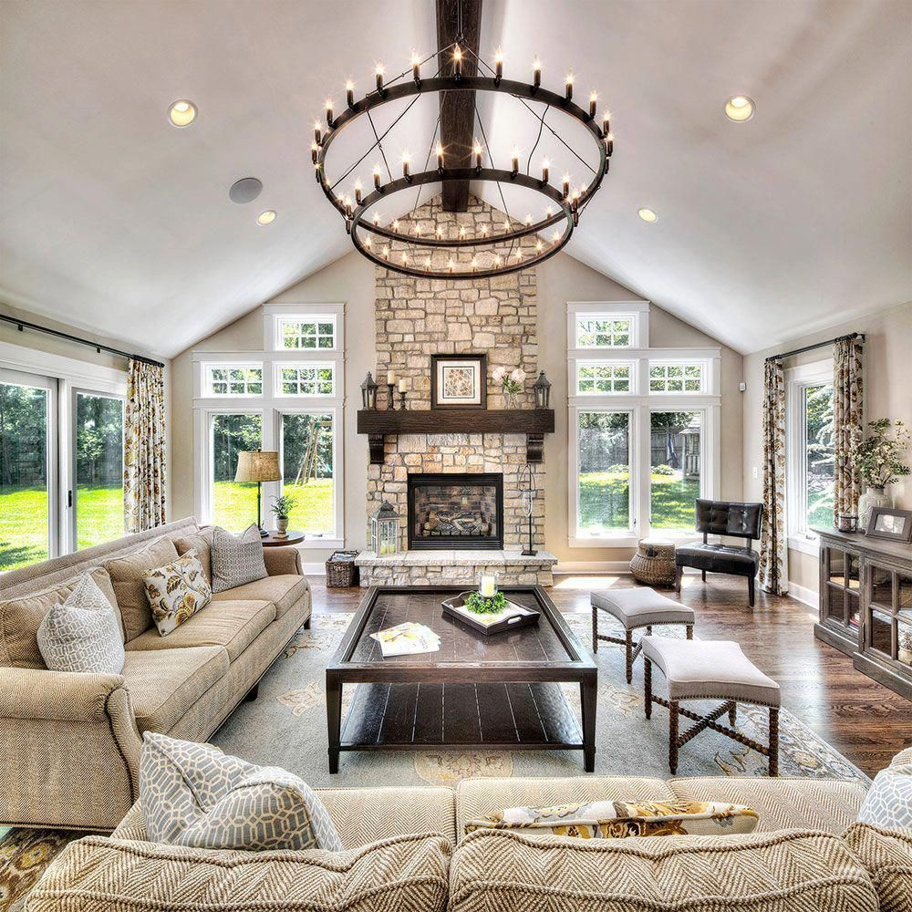 Home-Addition Vaulted Ceiling Living Room Design Ideas #livingroomremodelideasbudget #chimneydecorlivingroom #vaultedceilingdecor
