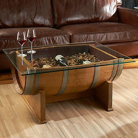 Photo of French oak barrel cocktail table (natural finish) – wine lovers – do it yourself decoration