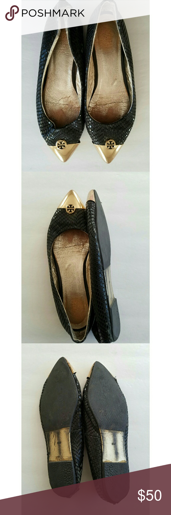 1db305d640f238 Tory Burch Gold Pointed Toe Flats Size 8M Pre-owned has scratches on shoe