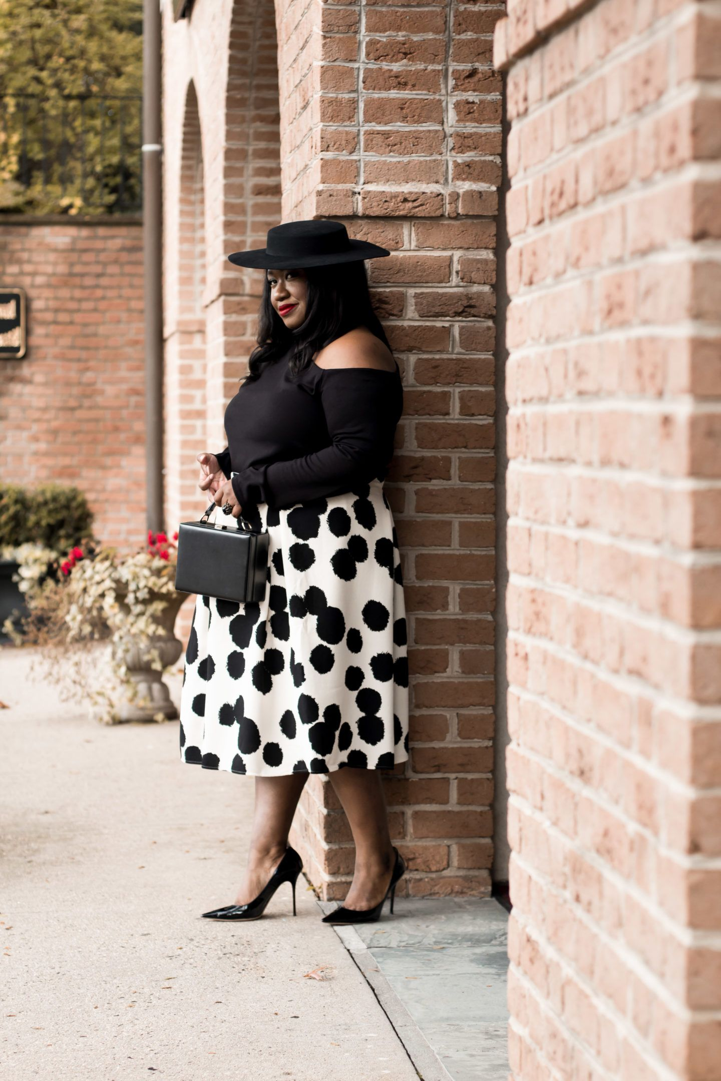 1bb22804d41 Plus Size Polka Dot Skirt Outfit • Plus Size Fashion • Plus Size Outfit  Idea • Shapely Chic Sheri  plussize  plussizefashion  style   styleinspiration  ootd ...