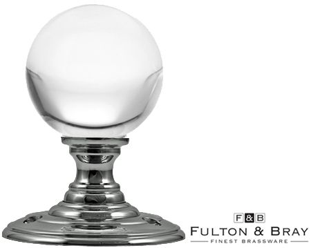 CLEAR GLASS BALL MORTICE DOOR KNOBS, POLISHED CHROME - FB300CP (sold ...