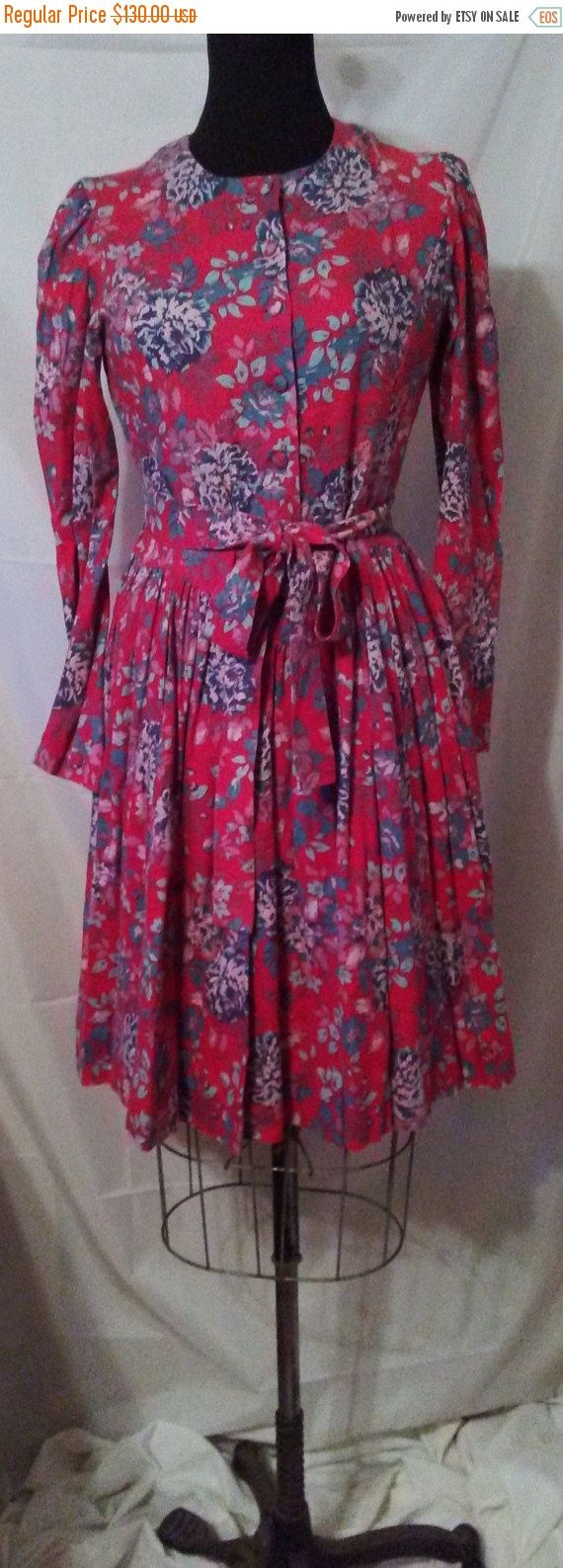 70s Vintage Laura Ashley Linen Wool Floral L/S Day Dress-Ireland ...