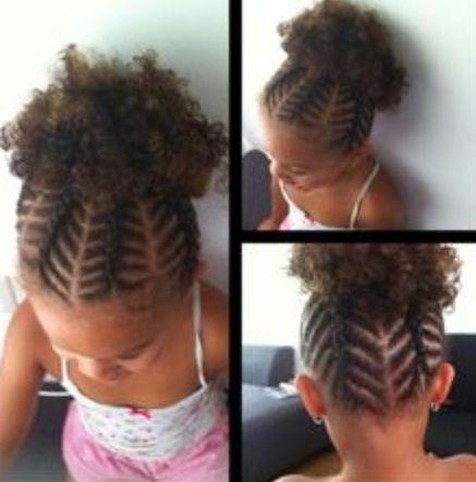 Braids Upward Into A Fluffy Ponytail Kids Short Hair Styles Girls Hairstyles Braids Little Girl Braids