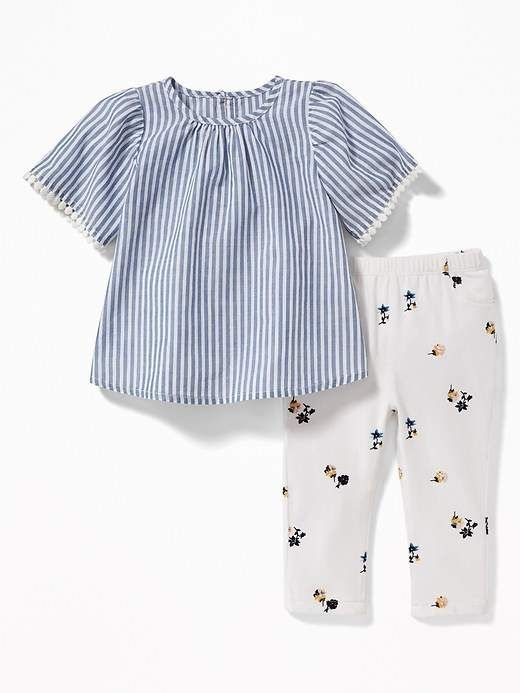 247d16b17 Old Navy Lace-Trim Blouse & Printed Leggings Set for Baby | Products ...