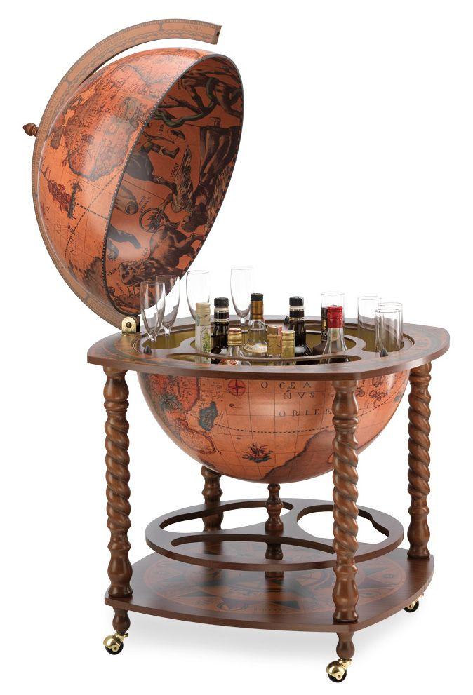 Spiral Leg Globe Bar Caronte 16th C Replica Classic Home Bar Cabinet Globe Bar Floor Globe