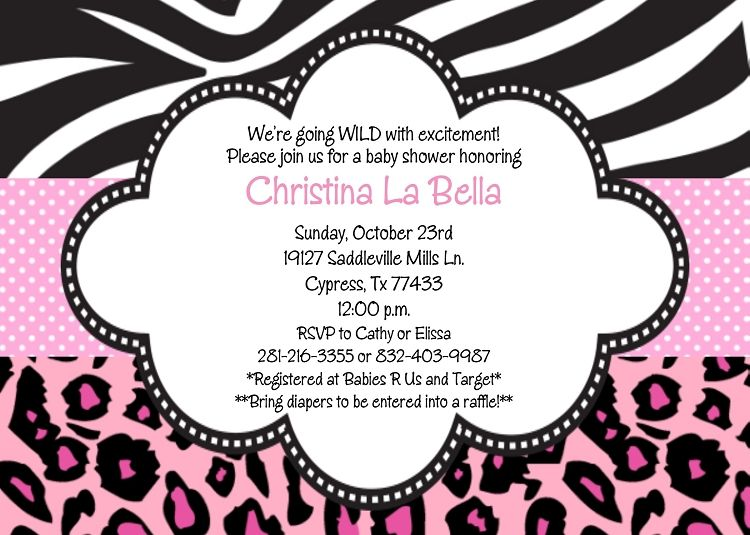 Zebra leopard print birthday party invitations baby shower printable baby shower invitations baby shower invitations baby shower invitation zebra leopard print filmwisefo
