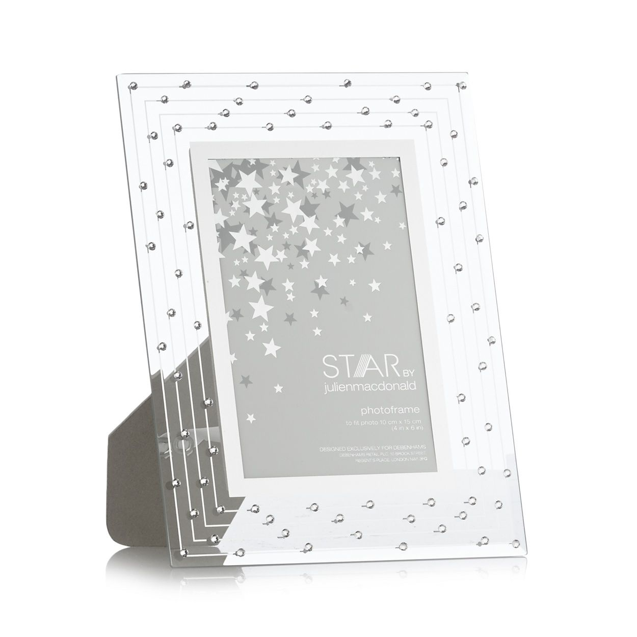 This stylish glass frame in silver comes exclusively from designer star by julien macdonald designer silver glass swarovski crystal photo frame jeuxipadfo Gallery