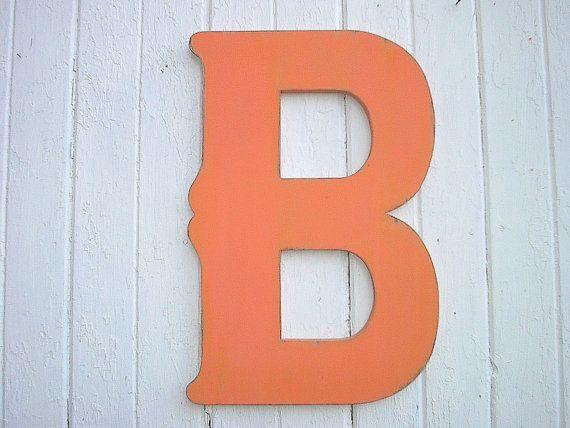 Shabby Chic Letter B 24 Wedding Registry Guestbook Gift Orange