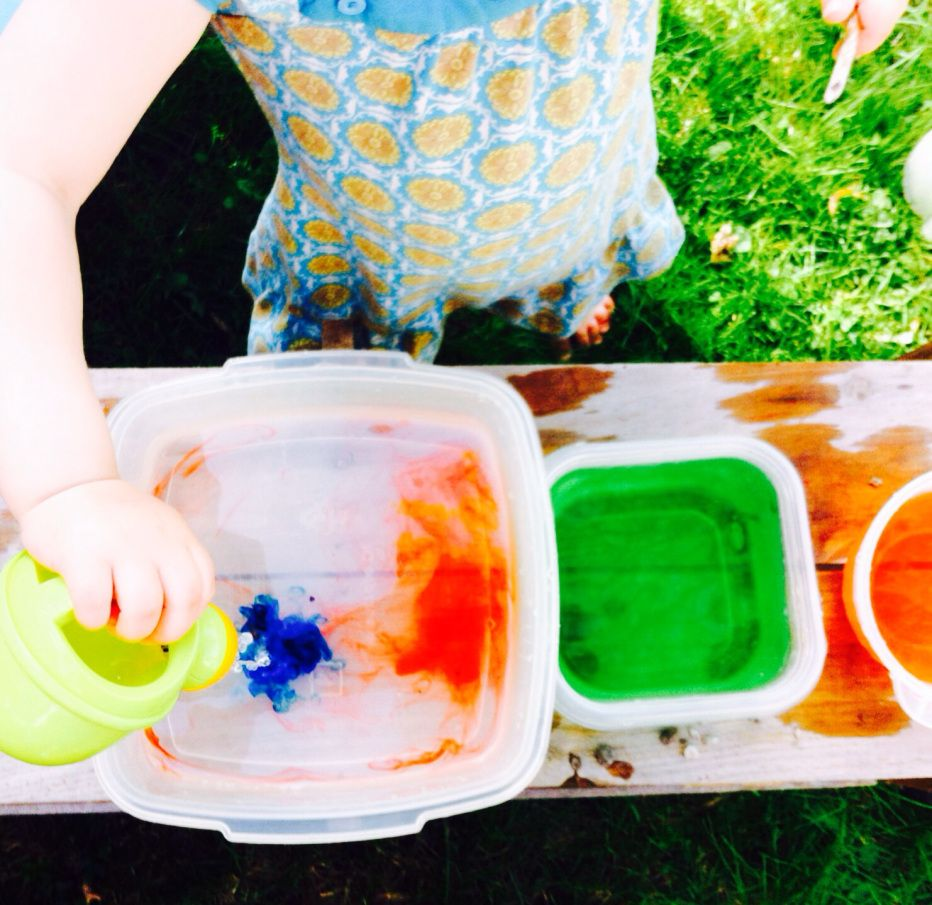 Outside water play. Instead of using food colorant for recepies, use ...