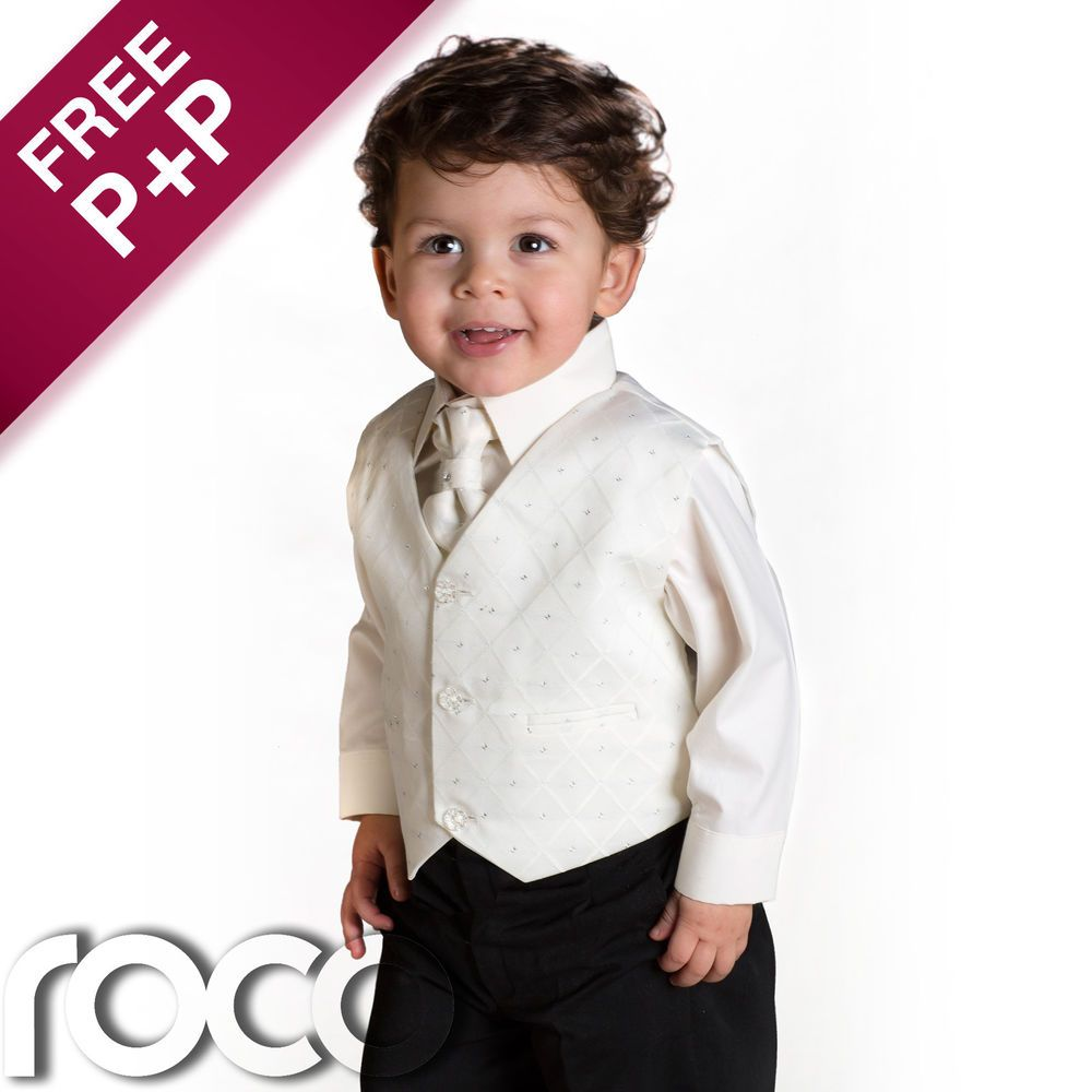 Baby Boys Wedding Pageboy 4 Piece Ivory Black Suit Age 0 Months 8 Years Outfits