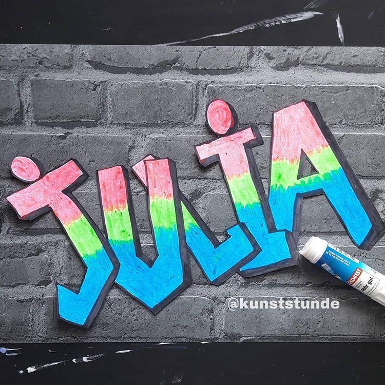 """kunst 🎨🖌 in der grundschule auf Instagram: """"MEIN NAME IN"""