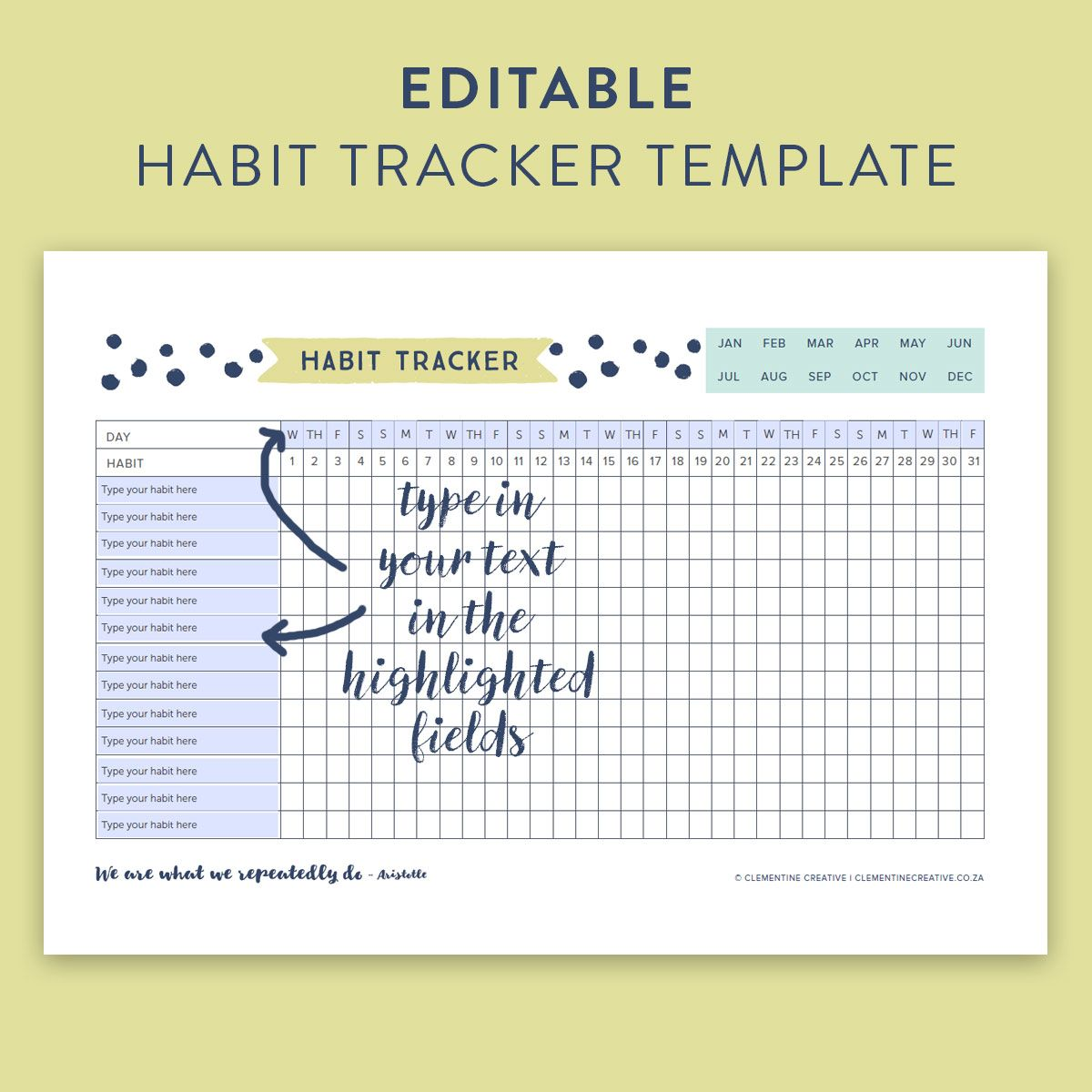 Printable Editable Habit Tracker