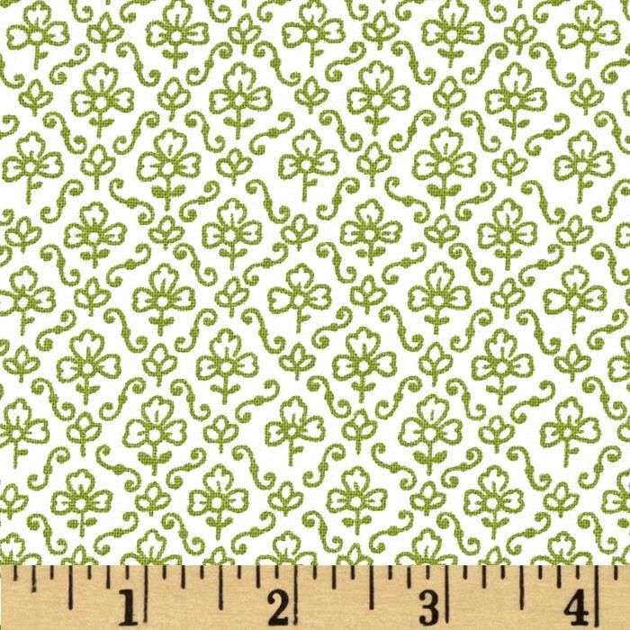 Urban Chic Set Flower & Scroll Dark Green from @fabricdotcom  Designed by Tina Higgins Designs and licensed to Quilting Treasures, this cotton print fabric is perfect for quilting, apparel and home decor accents. This is a licensed fabric and not for commercial use. Colors include avocado green and white.