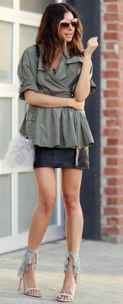 Khaki Shirt + Black Leather Skirt + Fringe Heels                                                                             Source