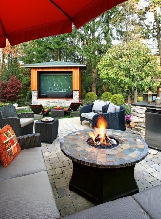Gentil Letu0027s Not Forget The Big Screen TV. This Space Is Great For Entertaining:  Firepit With Ledge, Outdoor Bar, Lots Of Lounge Seating, Great Landscaping,  ...