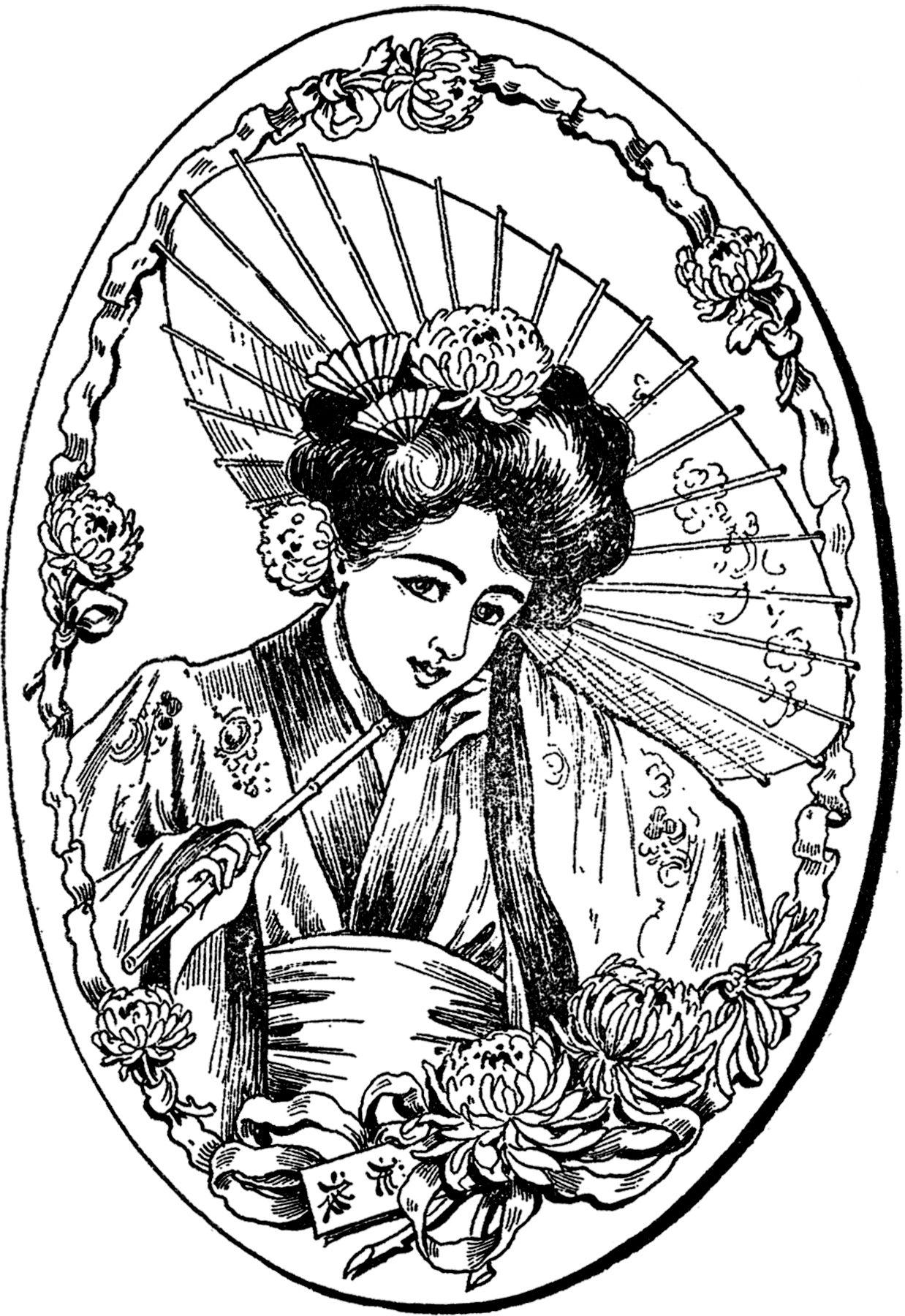 Coloriage Adulte Geisha.Beautiful Vintage Geisha Lady Image Coloriage Coloriage