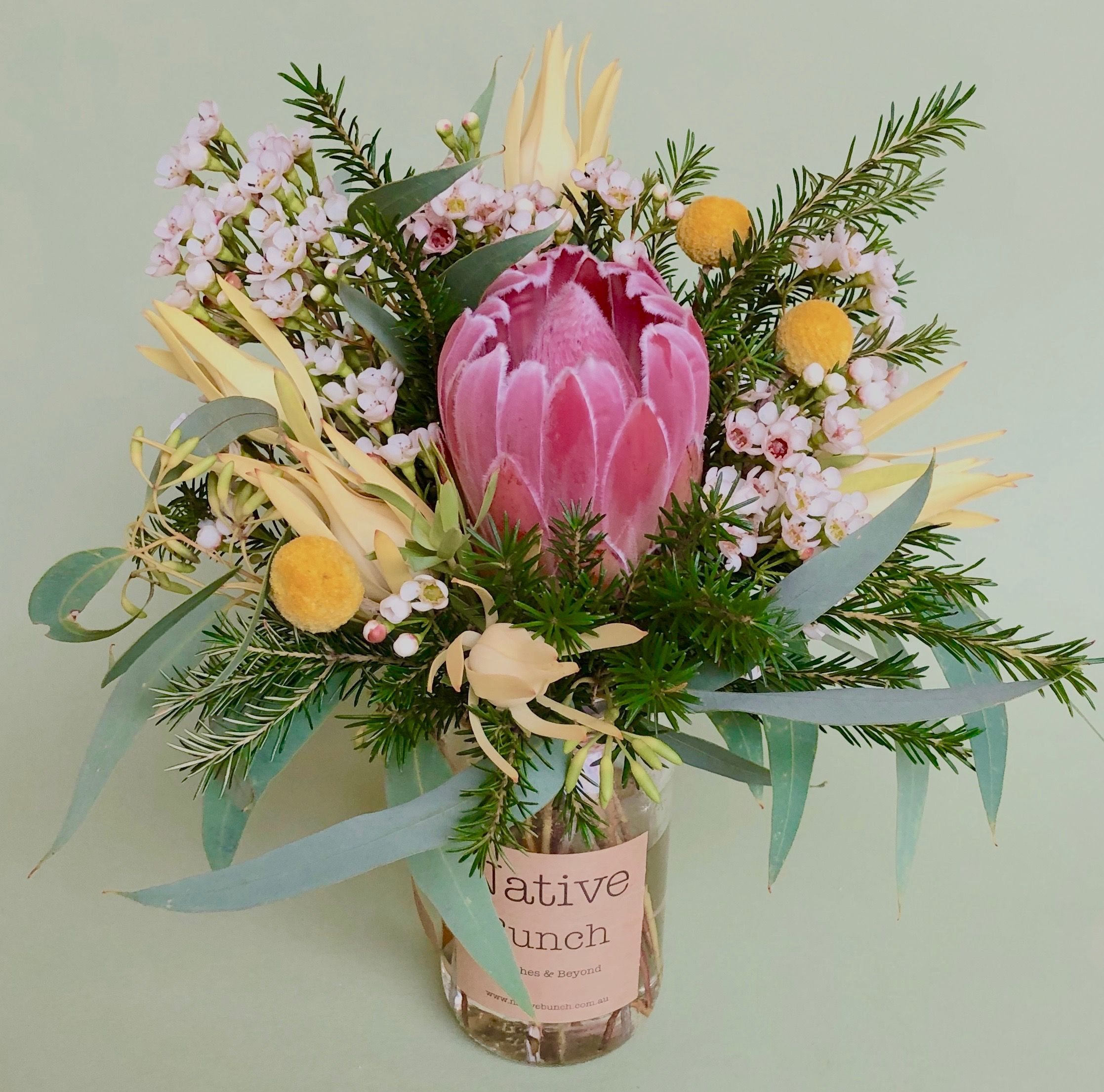 Native flower posy by Native Bunch. Protea, Waxflower