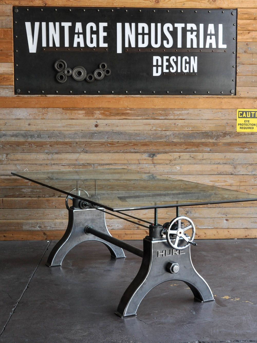 Hure conference table with faux crank vintage industrial furniture - Vintage Industrial Crank Table Designs Crank Up Your Decor Http Freshome