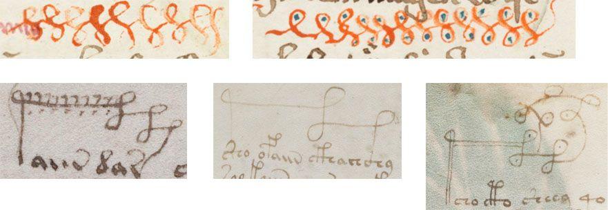 loop-pattern-comparison.jpg (881×304) Top: Loop doodles in Cod. Sang. 754. Bottom: Ornate gallows in the Voynich Manuscript. https://briancham1994.wordpress.com/2014/12/23/cod-sang-754-and-the-voynich-manuscript/