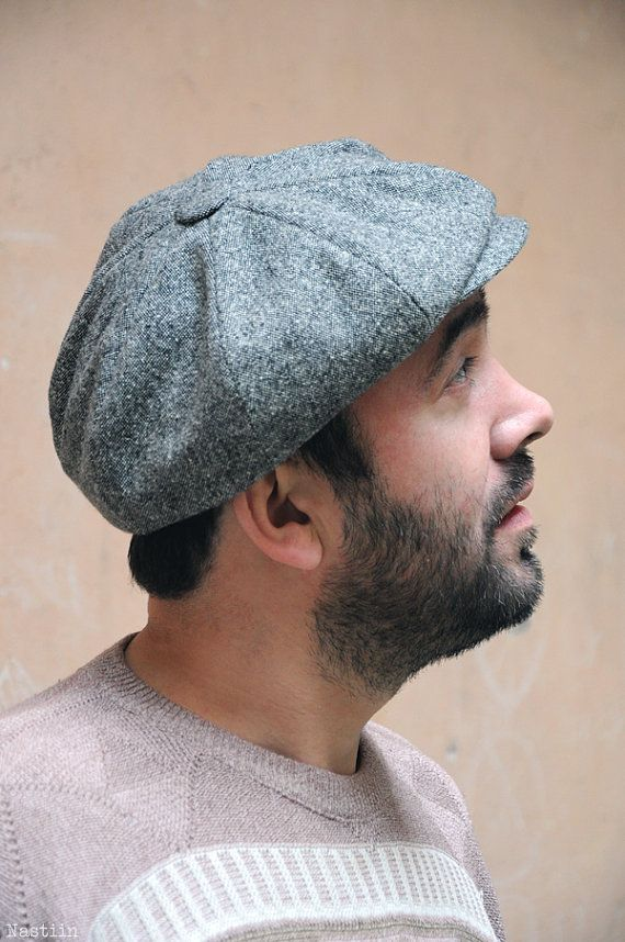 Men tweed newsboy hat   1950s style grey newsboy cap   by Nastiin ... a73926467e6