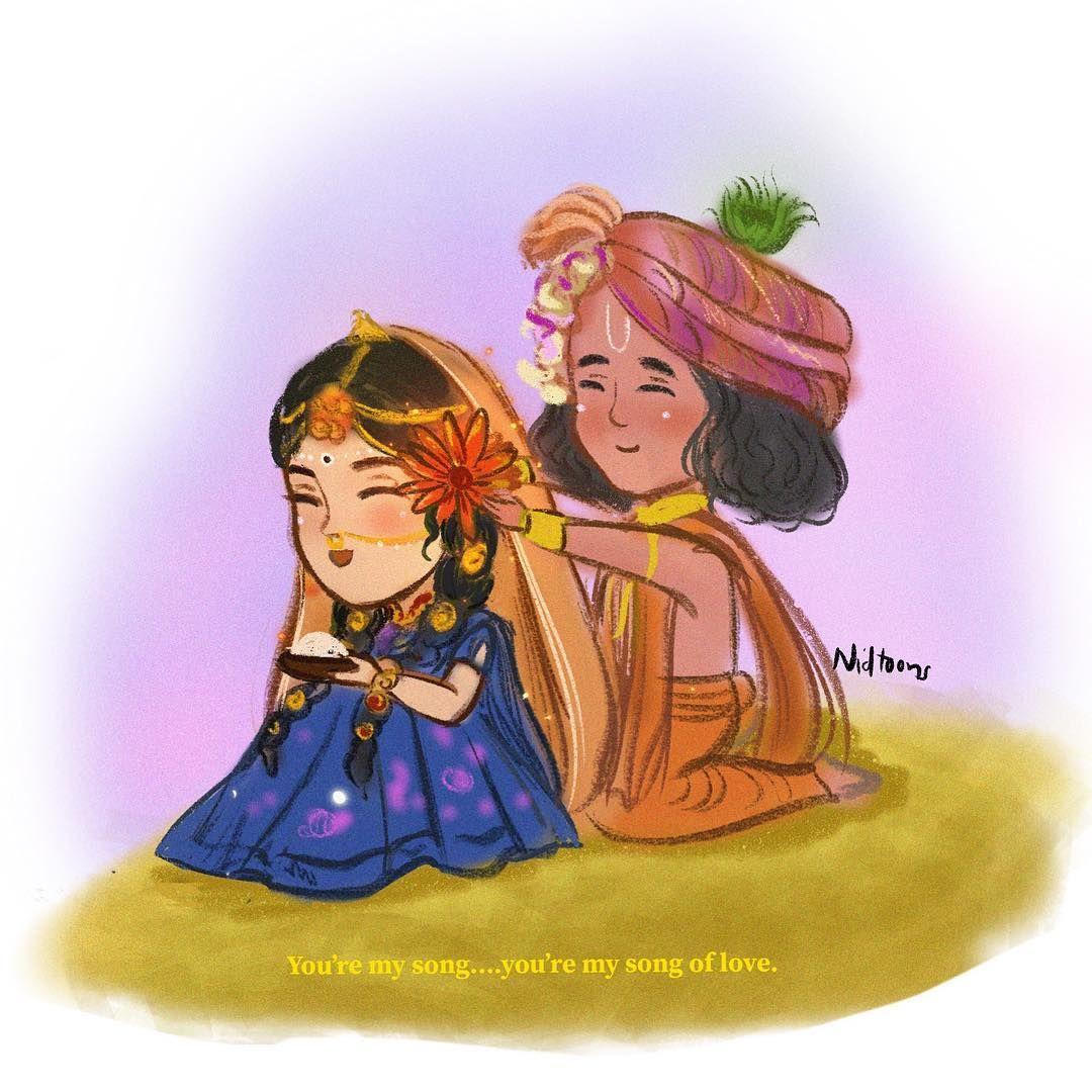 15 Mins Doodle Purelove Radha Krishn Illustrators Artofinstagram Loveis Chibilove Chibiarts Ani Cute Krishna Krishna Statue Krishna Radha Painting