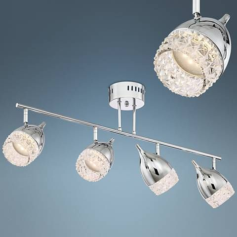 Possini Euro Goodwin Chrome Crystal Led Track Light Fixture