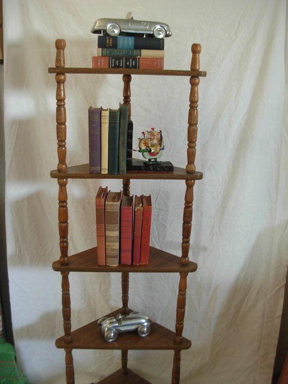 Vintage Corner Shelf Wood Spindles Display Piece Mid Century Modern Shelves Corner Shelves