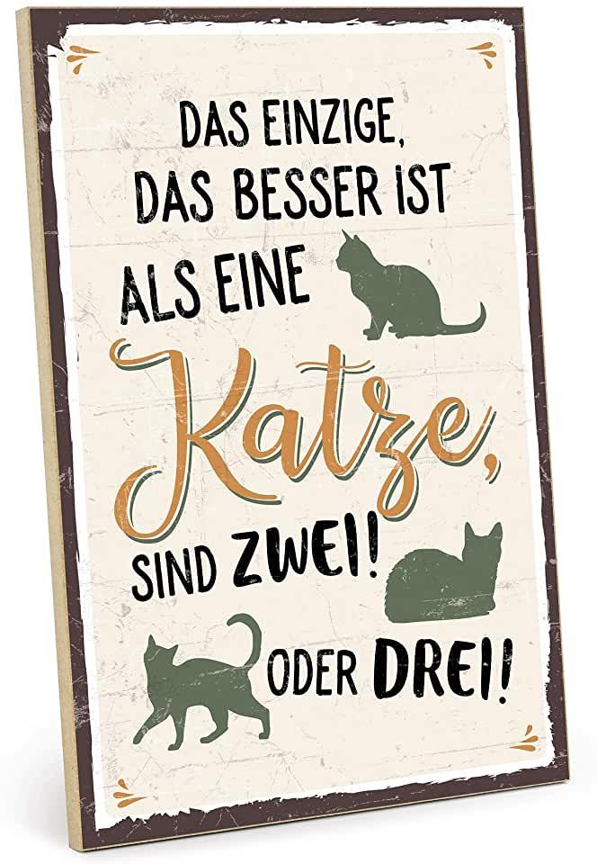 TypeStoff Holzschild mit Spruch – MEHR Katzen – im Vintage Look mit Zitat als Geschenk und Dekor | findegut.de