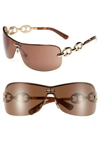 654f61c02 Gucci Rimless Shield Sunglasses with Chain Detail available at #Nordstrom
