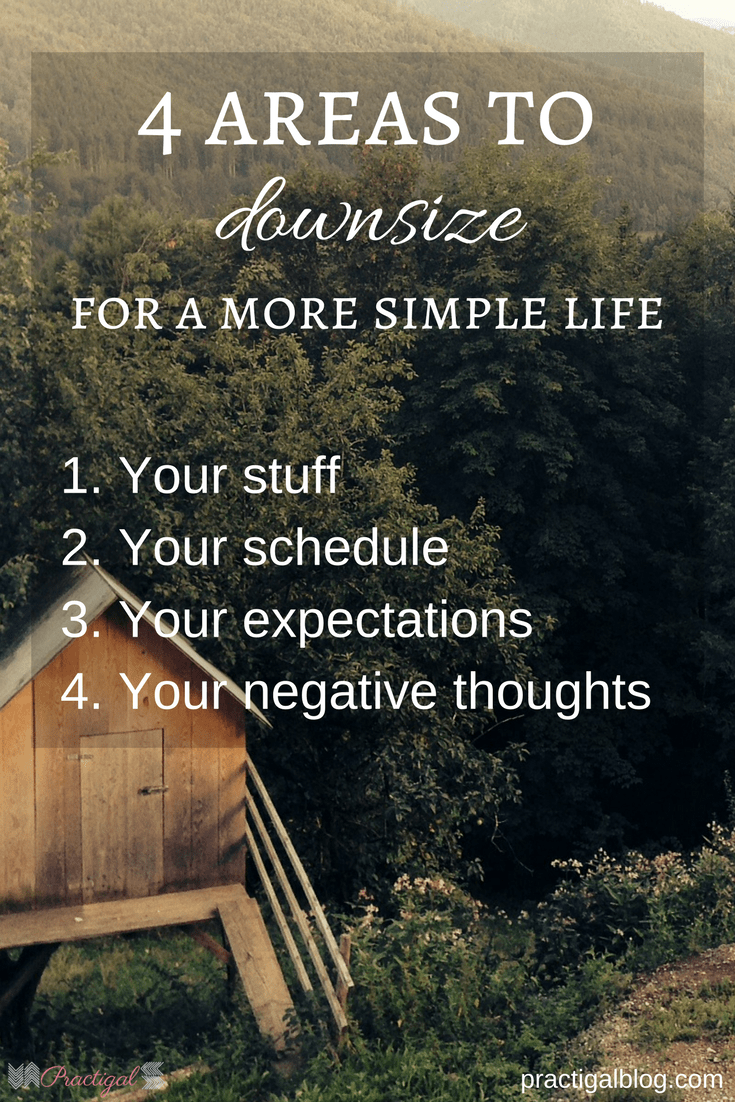 There are 4 key areas that you should downsize to simplify your life. Downsizing isn't only about moving into a smaller home. Find out what you need to downsize now! Declutter your life so that you can live the life you want. This post will give you ideas of where to start decluttering your life! #downsizing #declutteryourlife