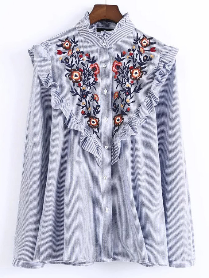 0a3ba8c99405f2 Shop Vertical Striped Flower Embroidered Frill Shirt online. SheIn offers  Vertical Striped Flower Embroidered Frill Shirt   more to fit your  fashionable ...