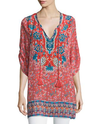 b6aaf591e13e0 Tolani Sandy Long Printed Silk Tunic