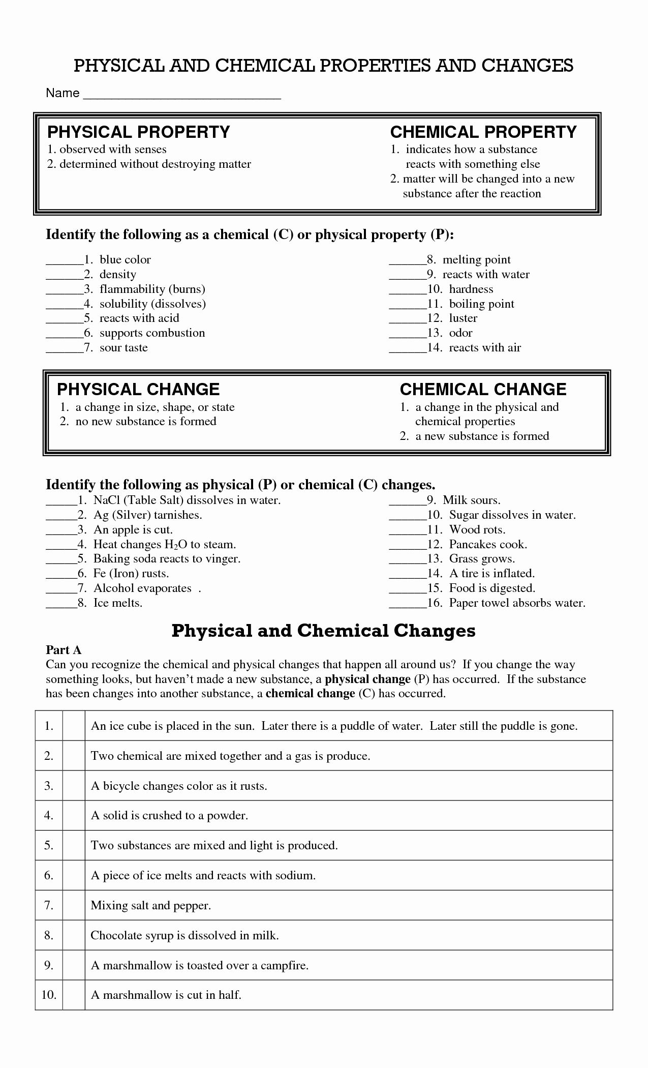 Physical And Chemical Change Worksheet Best Of 14 Best Of Physical