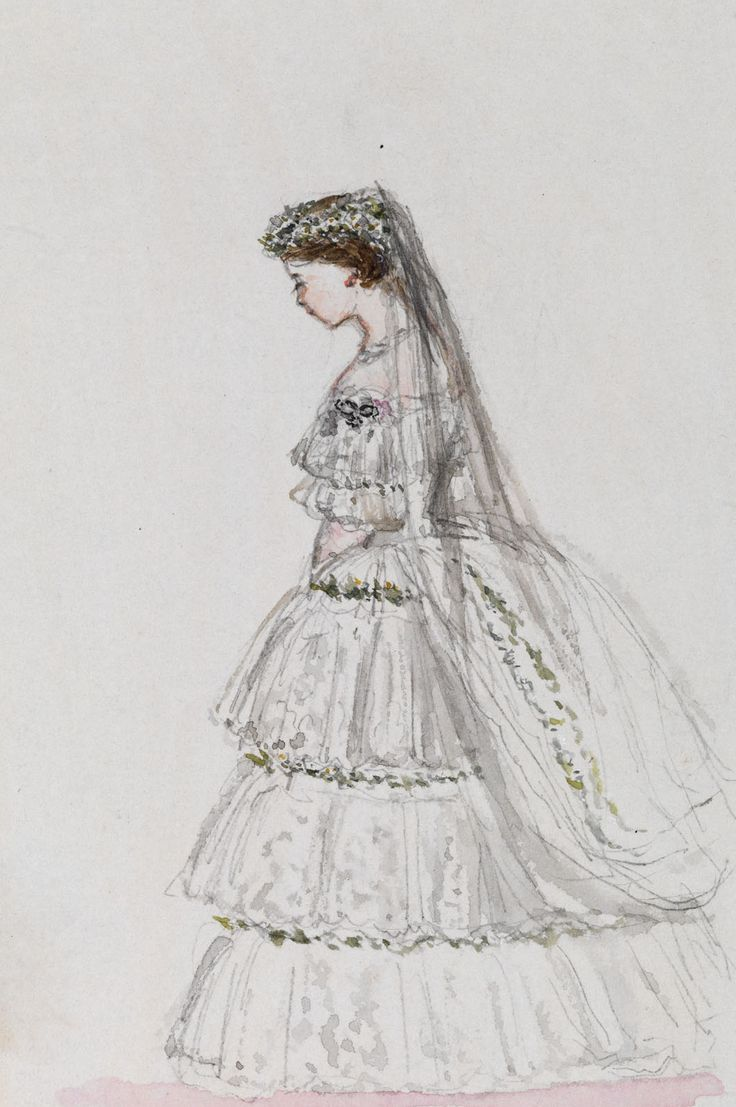 A Watercolour Made By Queen Victoria Showing Her Daughter Victoria Princess Royal O Queen Victoria Wedding Queen Victoria Wedding Dress Victoria Wedding Dress [ 1107 x 736 Pixel ]