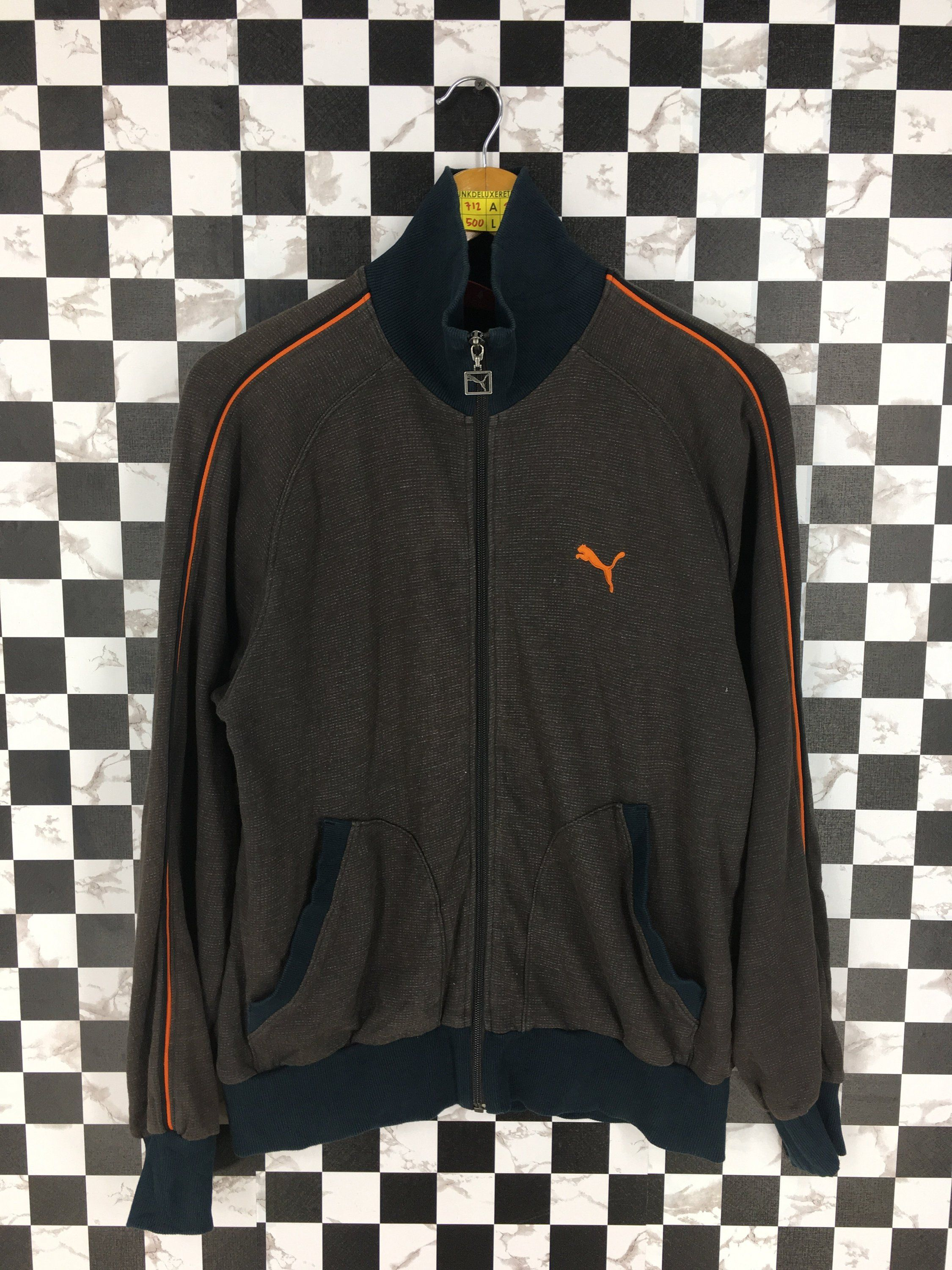 6daba8cb29f50 Vintage 90's PUMA Sweater Jacket Women Large Puma Cougar Spell Out ...