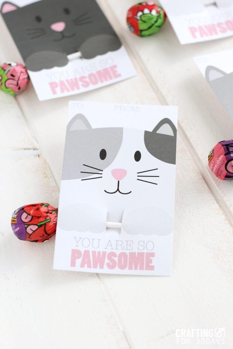 Printable Cat Valentine Day Cards Valentine S Cards For Kids Valentines Cards Diy Valentines Cards